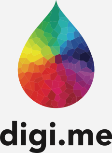 digi.me CMYK logo with black text potrait grey background